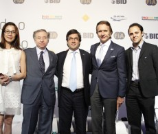 Pictured an audience of key decision makers taking part in the Paving the Way to Safer Roads event, hosted by the FIA and IDB in São Paulo, Brazil from left to right: Global Road Safety Ambassador Michelle Yeoh, FIA President Jean Todt, President of the Inter-American Development Bank Luis Alberto Moreno, Motorsport Champion, Emerson Fittipaldi and F1 Driver Feilpe Massa