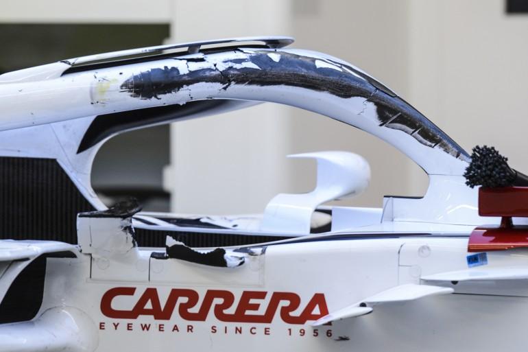 Машина Леклера после столкновения с Алонсо в Спа в 2018 году
