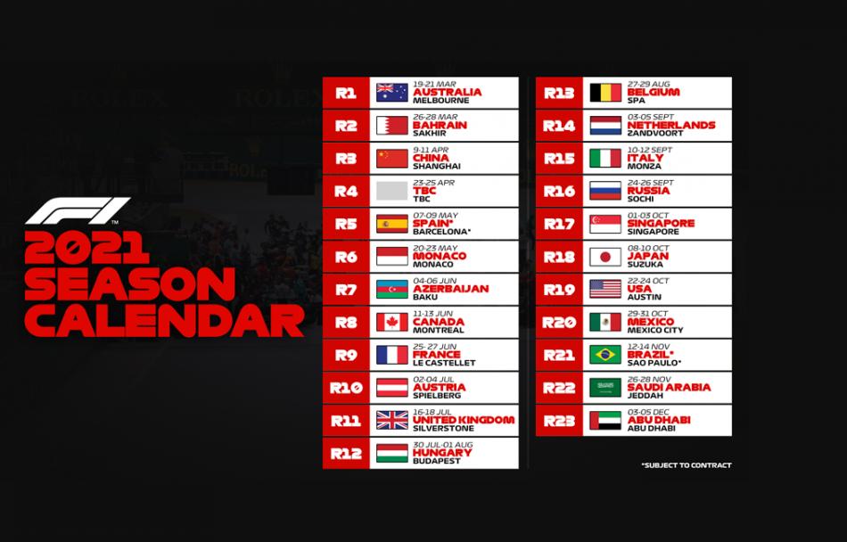 Calendar Of 2021 Formula 1 announces 2021 provisional calendar   Federation
