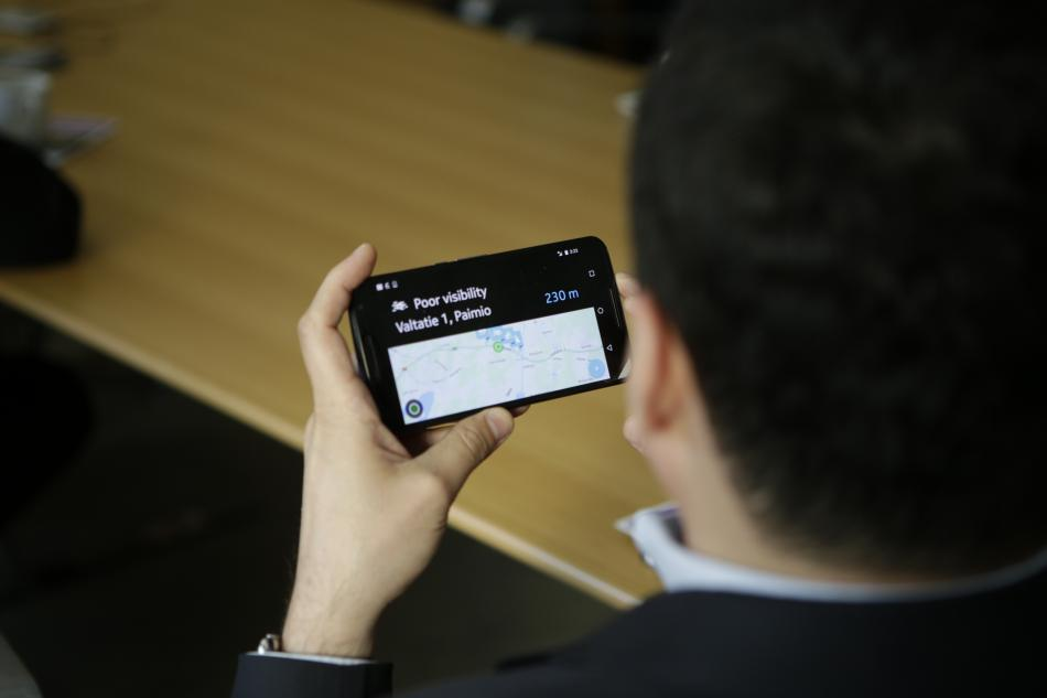 FIA delegate testing the NordicWay traffic control system