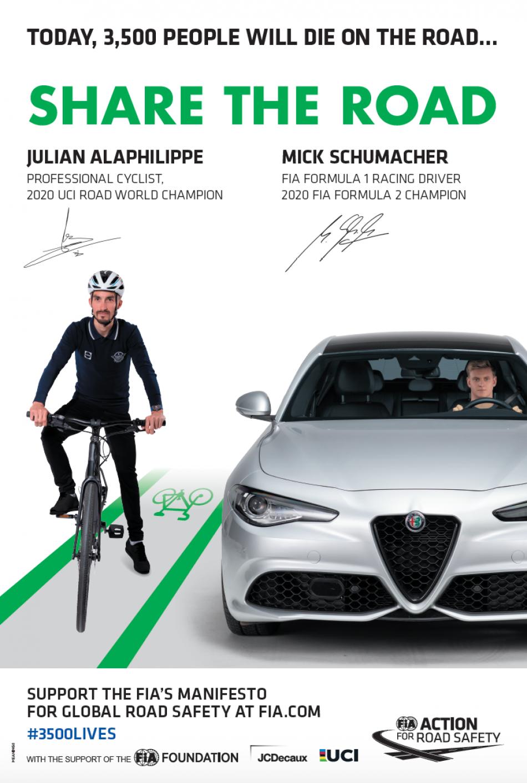 road safety, 3500LIVES, julian alaphilippe, mick schumacher,