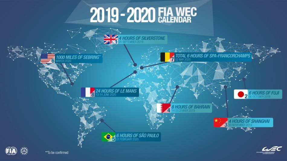Spa Francorchamps Calendrier 2019.Wec 2019 2020 Fia Wec Calendar Is Approved Federation