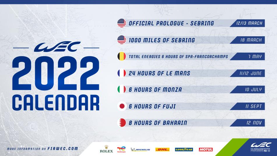 World Endurance Championship calendar 2022