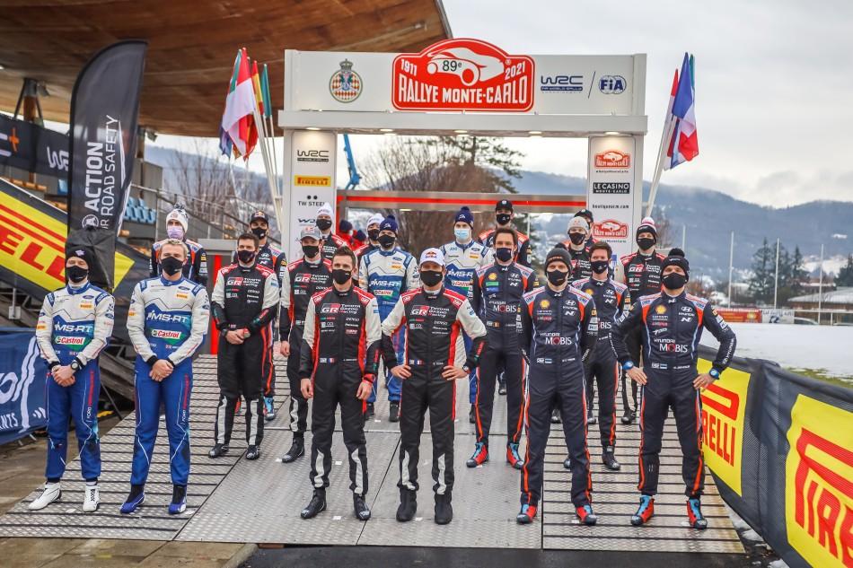 2021 WRC - P1 crews on start ramp at Rally Monte-Carlo (photo Stéphane Demard / ACM)