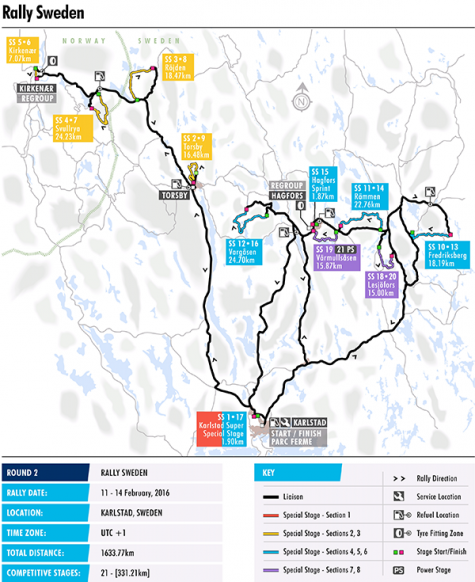 WRC Rally Sweden Preview Federation Internationale De L - Rally sweden map 2016