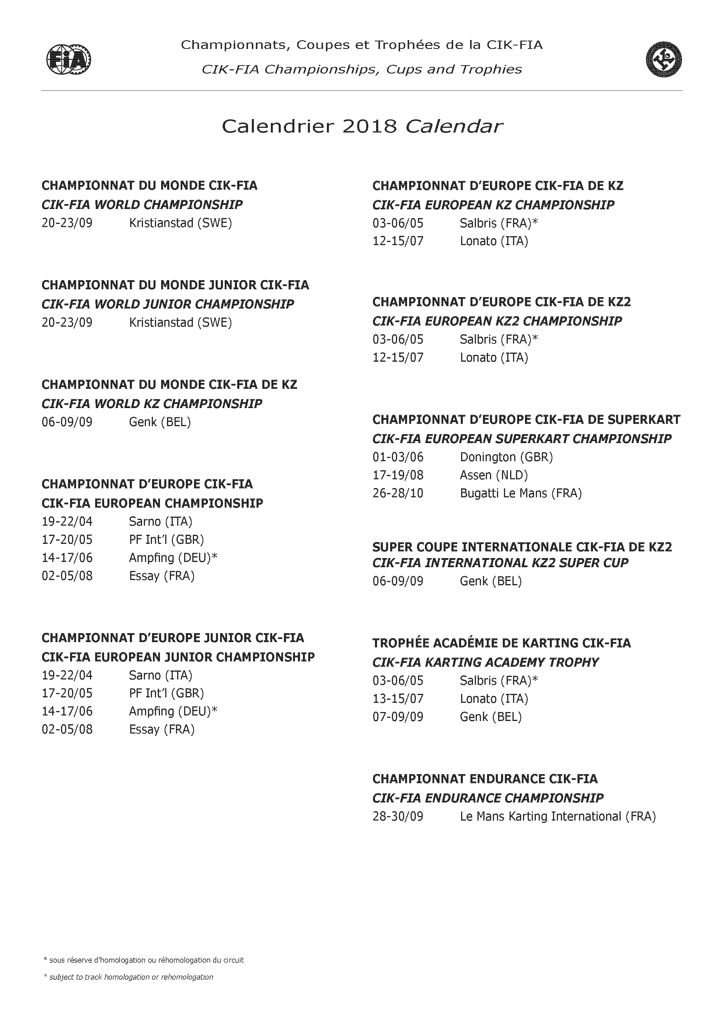 races calendar