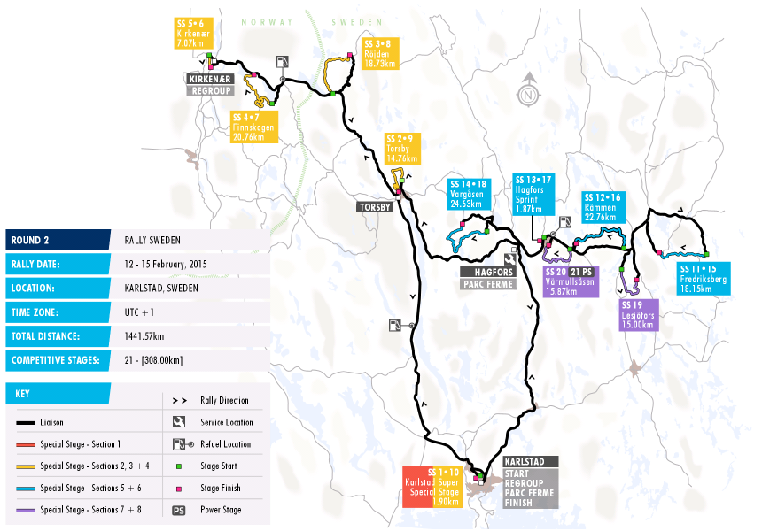 Stage Map Federation Internationale De LAutomobile - Rally sweden map 2016
