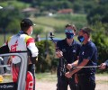 2020 ERC - Rally di Roma Capitale - TV crew wearing PPE interviewing a competitor