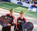 2021 WRC - Rally Finland - Scott Martin (left) and Elfyn Evans at the final event podium