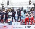 2020 WRC - Rally Estonia - Final podium Tänak/Järveoja, Breen/Nagle, Ogier/Ingrassia (Jarek Jõepera)