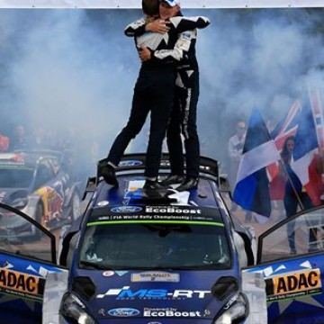 #WRC Ford Fiesta WRC drivers @otttanak and Martin Järveoja claimed their second FIA @officialwrc victory today when they took the top step of the podium on @adacrallyehub  #RallyeDeutschland #Germany #rallying #rallies #motorsport