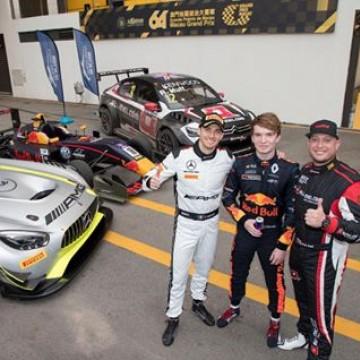 #MacauGP - The three FIA Championships winners of the #MacauGP 🇲🇴 : @edomortara (FIA GT World Cup) , @dan_ticktum (FIA F3 World Cup) & @rob_huff_ (@fia_wtcc) #Motorsport #Racing