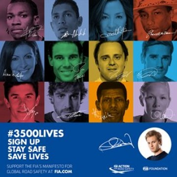 "Happy birthday to our #3500LIVES campaign ambassador @nicorosberg. Thank you for supporting #RoadSafety and the ""Never Drink and Drive"" rule."
