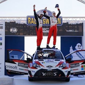 #WRC @jmlatvala and Miikka Anttila claimed Toyota's maiden victory on only its second event back in the #FIA @officialwrc after 17 years out of the top level of the sport. #RallySweden #JariMatti #Latvala #Toyota #rallying #rallies #motorsport #winner #podium