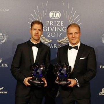 #FIAPrizeGiving - Ferrari's Sebastian Vettel and Mercede's @valtteribottas with their trophies for finishing second and third in the 2017 F1 driver standings