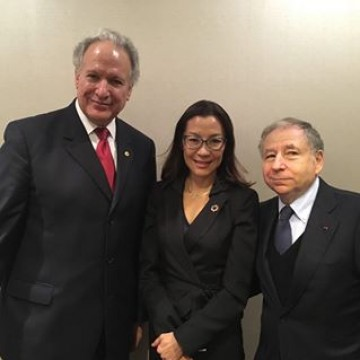 Jean Todt and Michelle Yeoh meet with the Honorable Mark Rosekind, Administrator of the National Highway Traffic Safety Administration (USA) also Honorary Advisor to the FIA High Level Panel for Road Safety #roadsafety