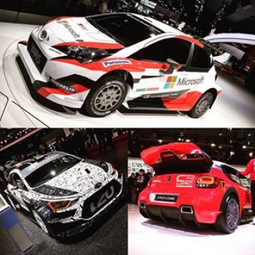 Three stunning 2017-spec @officialwrc cars are on display from @tgr_wrc @hmsgofficial and @citroenracing at the #ParisMotorShow #WRC #worldrallychampionship #WRC2017 #motorsport #rally #rallycar #FIA #unveiling #ToyotaYarisWRC #hyundaii20wrc #citroenc3wrc